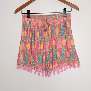 Simply Southern pineapple tassels pink shorts